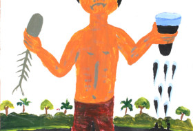 La Restinga Taller Belen Niño con vaso de petroleo
