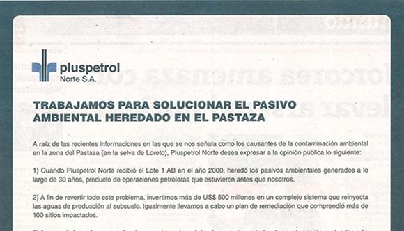 Comunicado de Pluspetrol 2