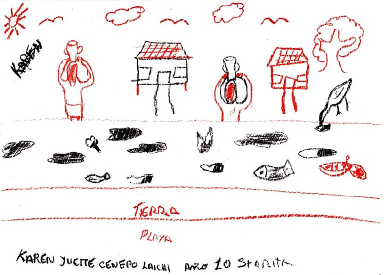 En 2010, en la comunidad Santa Rita de Castilla, los niños y niñas hicieron en sus escuelas unas pinturas reflexionando sobre la contaminación (post derrame junio 2010). El resultado un estremecedor testimonio visual.
