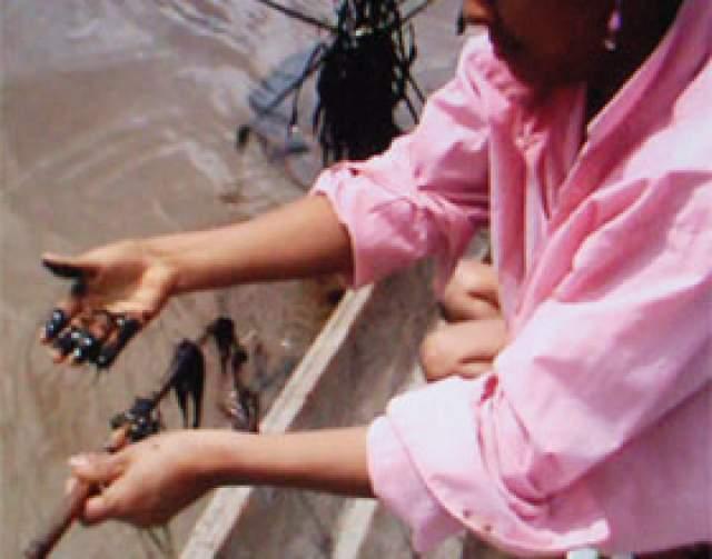 Cuenca del Marañón. Manos con rastros de petróleo. Fotografía tomada durante el tiempo de derrame de 500 barriles de petróleo en junio de 2010