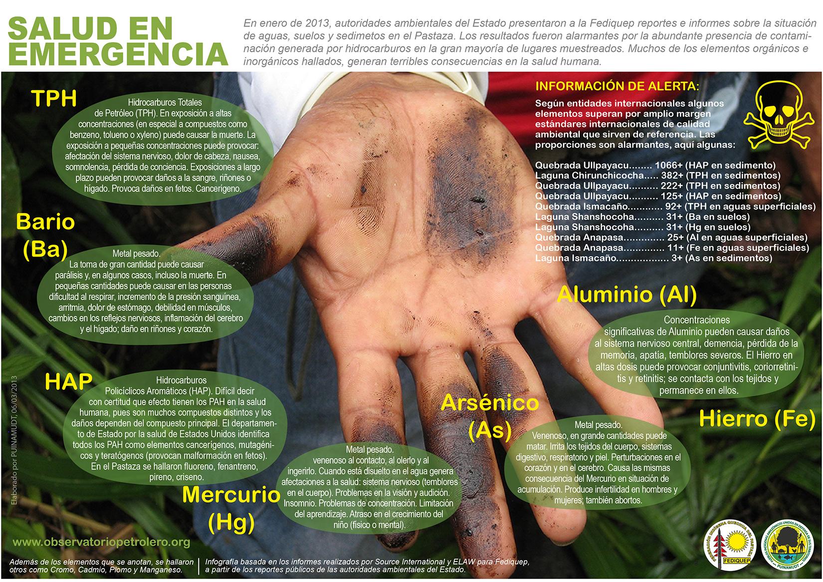 Luego de que las autoridades públicas determinaran la grave situación ambiental en el Pastaza el Estado comprobó lo ya evidente, graves riesgos y peligros a los que estaban expustesos la salud de la población local.