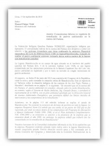 Carta de FEDIQUEP a MINAM, setiembre 2012.