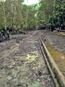 Derrame Machinpoza-Tambo. Fotografía de la zona de derrame en febrero de 2014. Programa de Monitoreo Ambiental de Fediquep.