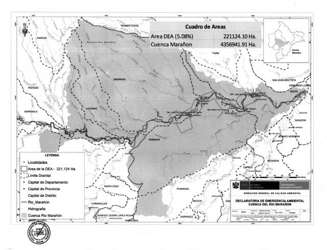Ámbito y comunidades de la Emergencia Ambiental en la cueca Marañón.