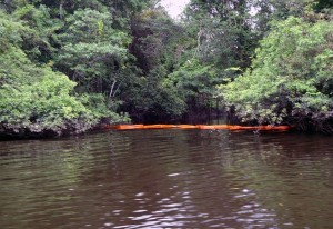 Las barras de contención, color naranja, pretende contener el impacto de hidrocarburos.