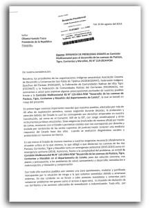 Cargo de carta remitida por las federaciones en agosto de 2014 al despacho presidencial.