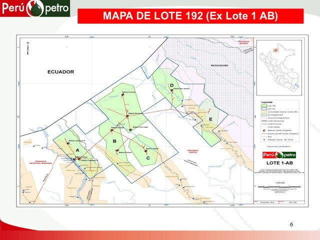 Mapa del Lote 192 y, en su interior, los bloques del actual Lote 1AB.