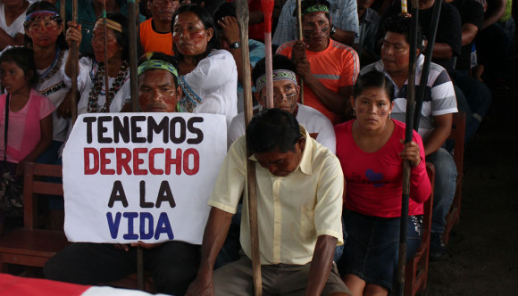 Foto: Movilización del pueblo quechua del Pastaza, en junio de 2014.