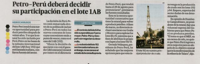 Diario El Comercio - Petro-Peru deberá decidir su participacion en el lote 1AB