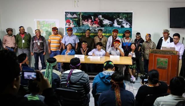 Conferencia de Prensa del 13 de agosto, local de AIDESEP.