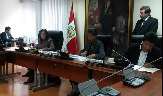 Congresista Verónika Mendoza, en sesión de la Comisión de Pueblos.