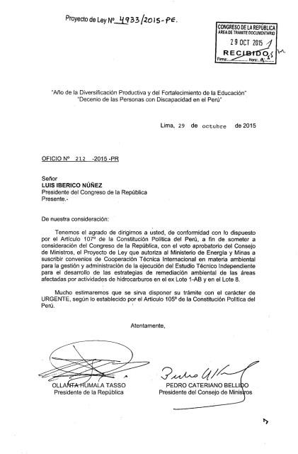Carta Ollanta para aprobar ETI-1