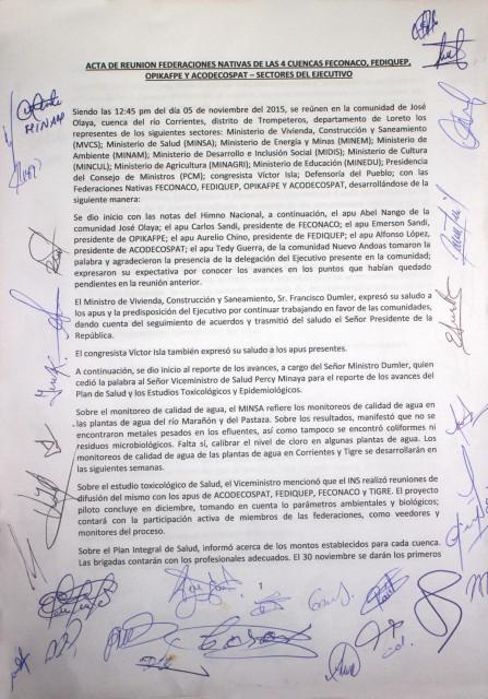 Primera carilla del  acta firmada