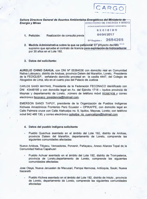 Cargo de Petitorio presentado de las federaciones.