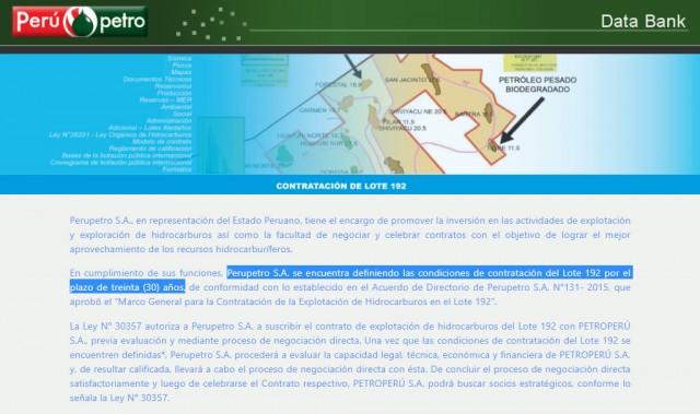 Perupetro web