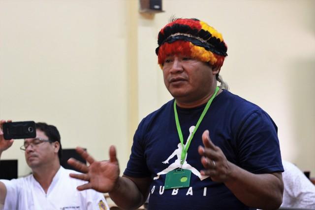 Apu Achuar durante la presentación de informe preliminar de Estudio Toxicológico