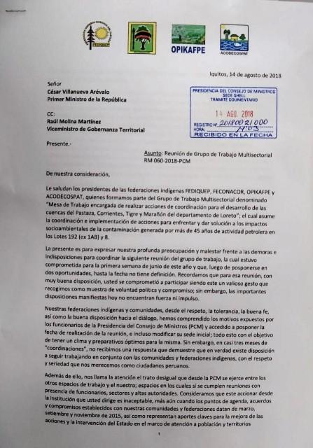 Carta Ministro Villanueva 1