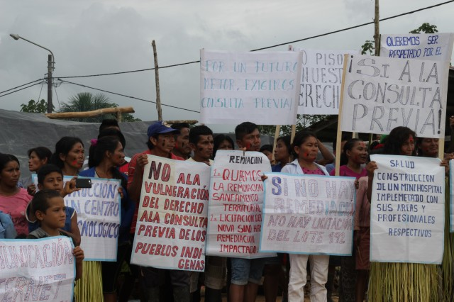 Kichwa community Doce de Octubre during 2017 rally demanding a Free Prior Consultation Process