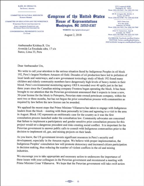 Carta de Congresistas Estadounidenses al Embajador en Perú sobre situación del Lote 192