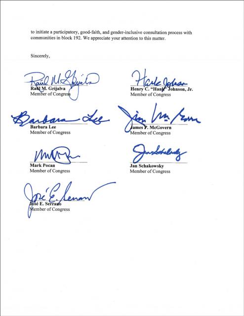 Carta de Congresistas Estadounidenses al Embajador en Perú sobre Lote 192
