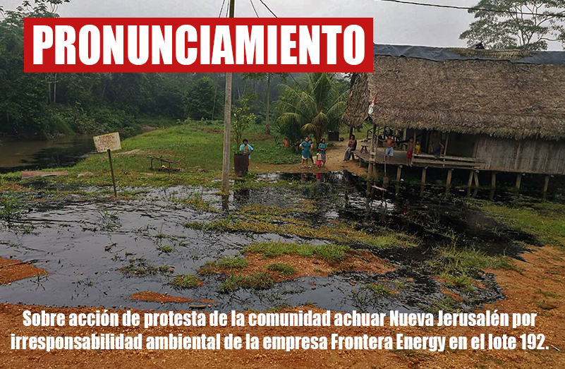 Pronunciamiento frente a irresponsabilidad ambiental de Frontera Energy